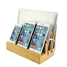 Electronic Desk Organizer Bamboo Phone Charging Station Wood Desk Organizer Cord
