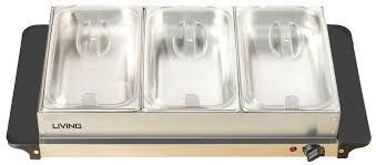 Elite Platinum Stainless Steel Buffet Server by Brentwood Triple Buffet Server W Warming Tray Walmart Com