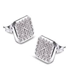earrings for men square diamond stud earrings for men pave set rhodium plated