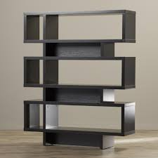 attractive black bookcase wood 5 shelves conteporay style