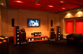 interior theater room wall decor displaying with luxurious golden