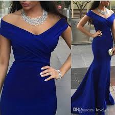 Dinner Dresses Royal Blue Evening Prom Gowns Mermaid Sleeves Backless Formal