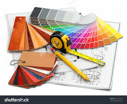 interior design architectural materials measuring tools stock architectural materials measuring tools and blueprints