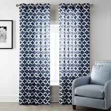 Navy Window Curtains Sunnyrain 1 Navy Blue Geometric Sheer Curtains For Living
