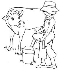 drawing a farmer milking his cow coloring pages color luna