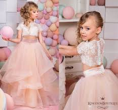 coral two pieces lace ball gown flower dresses vintage child