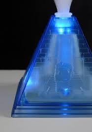 Led Light Base For Centerpieces by Blue Fiber Optic Pyramid Centerpiece 14x16 Blue Led Lights