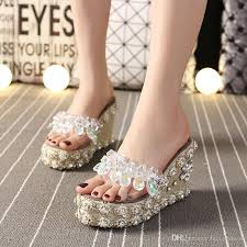 wedding shoes for grass slippers summer fish grass grass high heel muffin