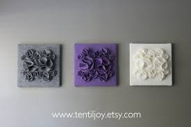 Purple Nursery Wall Decor Three Wall Canvases Purple Gray And White Nursery Wall