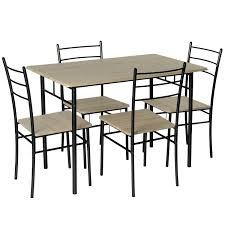 5 piece modern dining table and 4 chairs set textured wood effect