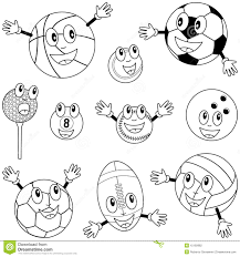 coloring sport balls characters stock photography image 15192982