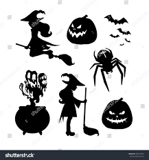 Halloween Silhouettes by Set Halloween Silhouettes Witch Broom Witch Stock Vector 496772902