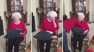gifts for elderly grandmother receives pillow made from late husband s shirt in