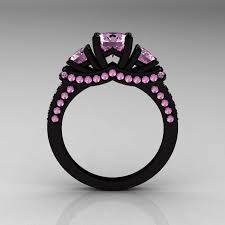 pink and black engagement rings black and pink diamond rings wedding promise diamond