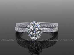 diamond wedding ring sets style oval cut moissanite diamond wedding ring set