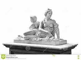 marble statue of greek goddess aphrodite and cupid isolated on