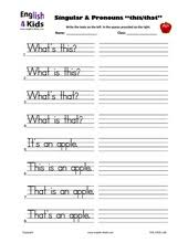 esl kids worksheets demonstrative pronouns singular u0026 plural