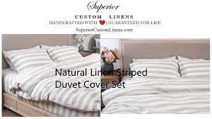 natural linen ticking striped duvet cover set youtube