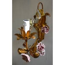 italian porcelain roses pair of antique italian gilded tole porcelain flowers wall sconces
