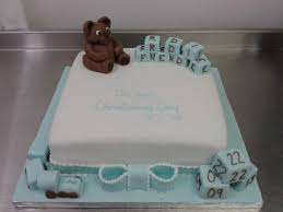 baby boy christening cake with teddy bear and blocks crumbs cake