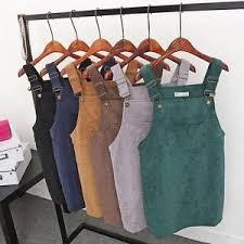 women corduroy suspender dress sleeveless casual overall vest