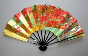 japanese fan gold leaf japanese maple and cherry tree fan goods from japan