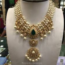 necklace gold pearl images Gold pearl necklace from anagha jewellery south india jewels jpg