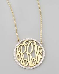 gold monogram initial necklace the diamonds around the monogram want need
