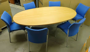 Oval Boardroom Table Beech Wood Oval Boardroom Meeting Table With 6x Stackable Blue