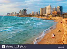 tel aviv skyline and beach stock photo royalty free image