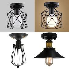 Metal Ceiling Light Shades Industrial Vintage Metal Cage Pendant L Semi Flush Mount