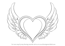 learn draw heart wings love step step drawing