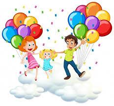 palloncini clipart genitori e bambina sulle nuvole con palloncini colorati