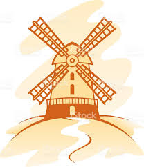 drawing in shades of brown of a dutch windmill stock vector art