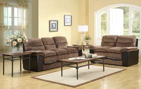 Tufted Leather Sofa Set by Living Room Chic Long Brown Laminated Tufted Leather Sofa Living