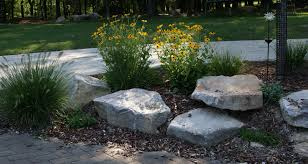 piles or large landscape rocks for beautiful gardens with green