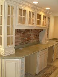 Backsplash For White Kitchen by Downeast Kitchen Design Brick Pavers For Back Splash With Wood