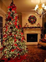 living room red ribbon christmas tree ornament christmas tree
