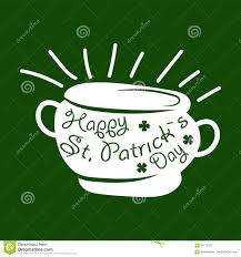 saint patrick day symbol of leprechaun treasure pot and four leaf