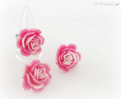 Shabby Chic Online Stores by Shabby Chic Pink Rose Earrings And Ring Set Handmade Gift