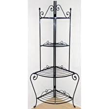 Decorating A Bakers Rack Furniture Beautiful Iron Corner Bakers Rack With Drawers