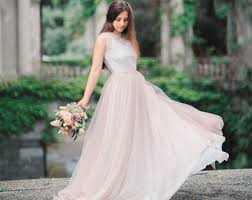 Modern Wedding Dress Blush Wedding Dress Etsy