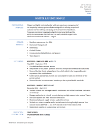 Waiter Job Description Resume Head Waiter Resume Skills Sidemcicek Com