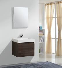 tiny wooden floating mirror bathroom mixed cream gauzy curtains