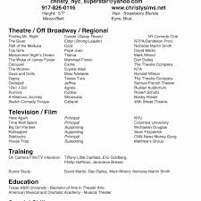free acting resume template sle musical theatre resume template free photos hq resume template