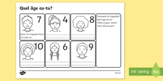 your age french worksheet worksheets france activity