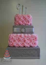 wedding cake og 4 tier square wedding cake pink buttercream roses grey fondant