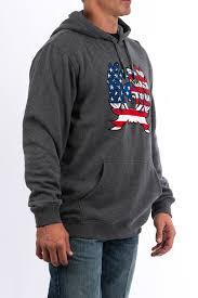 American Flag Hoodies For Men Cinch Jeans Men U0027s Heathered Gray Cotton Poly Fleece Hoodie With