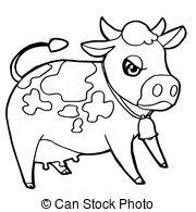 clipart vector of cow farm animal coloring page black and white