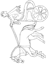 horse chariot coloring ancient greek rider